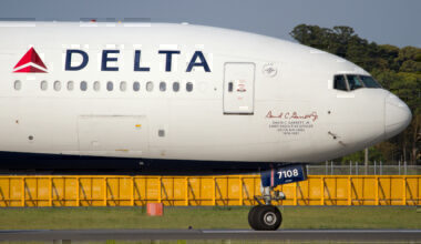 The nose of a Delta Air Lines Boeing 777-200ER dedicated to