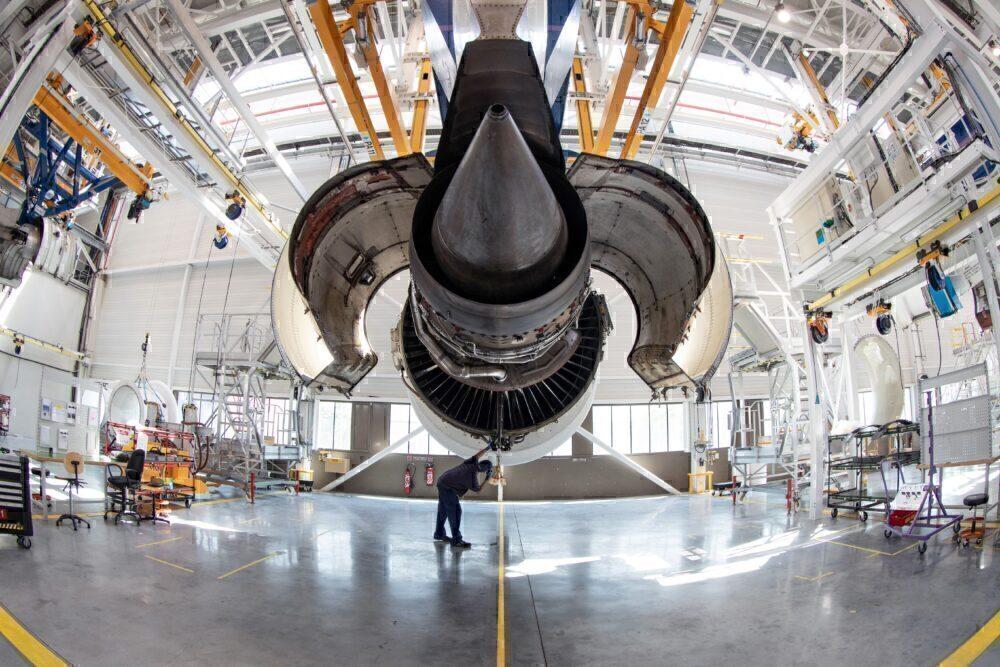 Airbus engine at maintenance