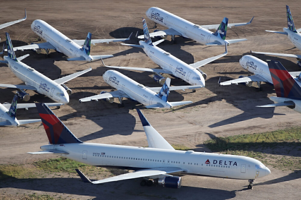 Delta and JetBlue Getty