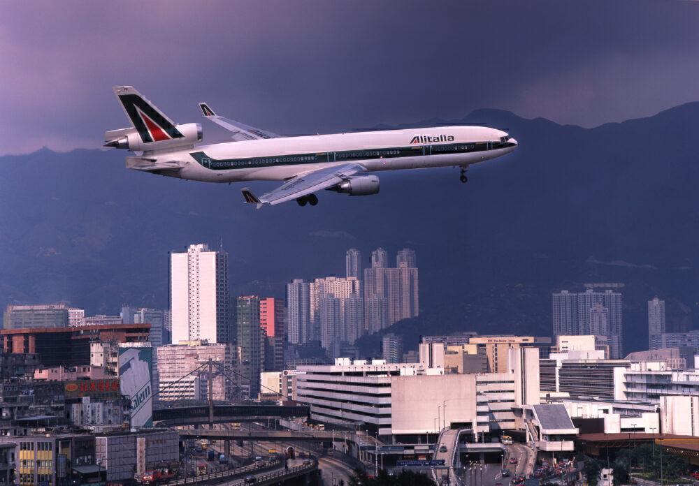 Alitalia Md-11 On Approach To Kai Tak Airport, Hong Kong, Asia