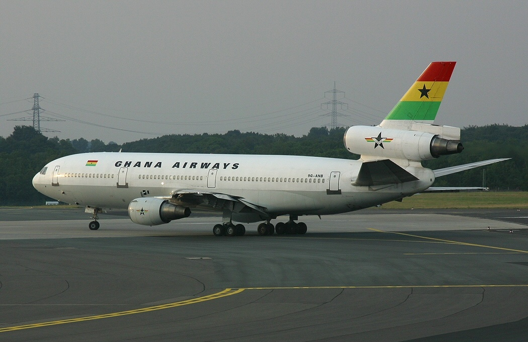A Ghana Airways McDonnell Douglas DC-10-30 at Düsseldorf Airport. (2003)