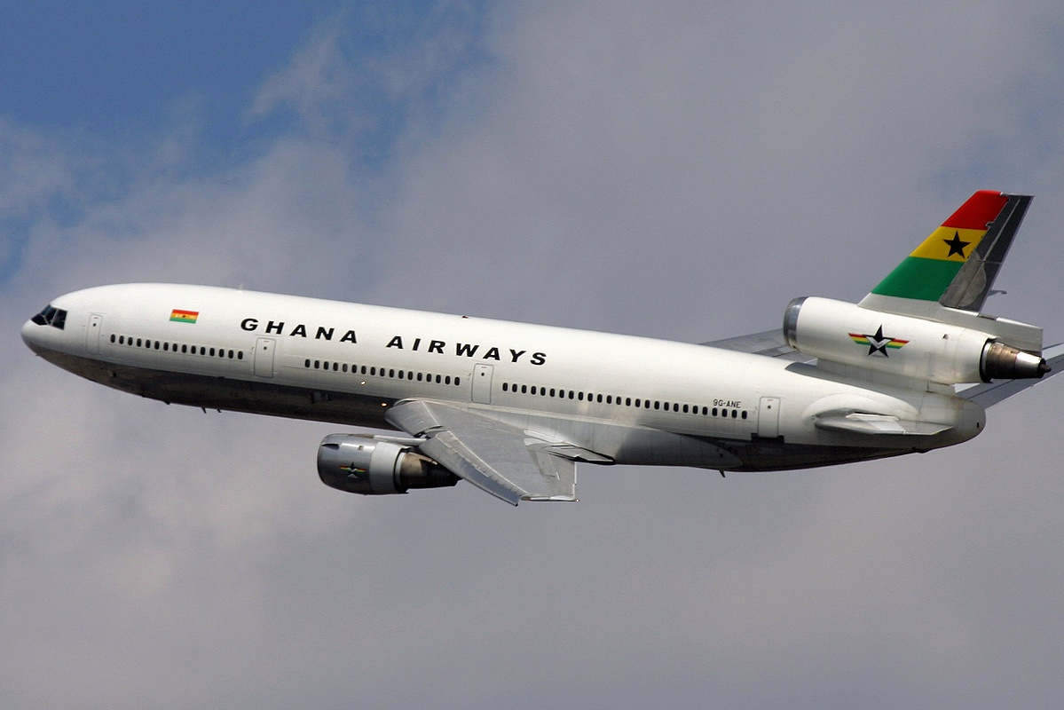 A Ghana Airways McDonnell Douglas DC-10-30 just departed from John F. Kennedy International Airport. (2004)