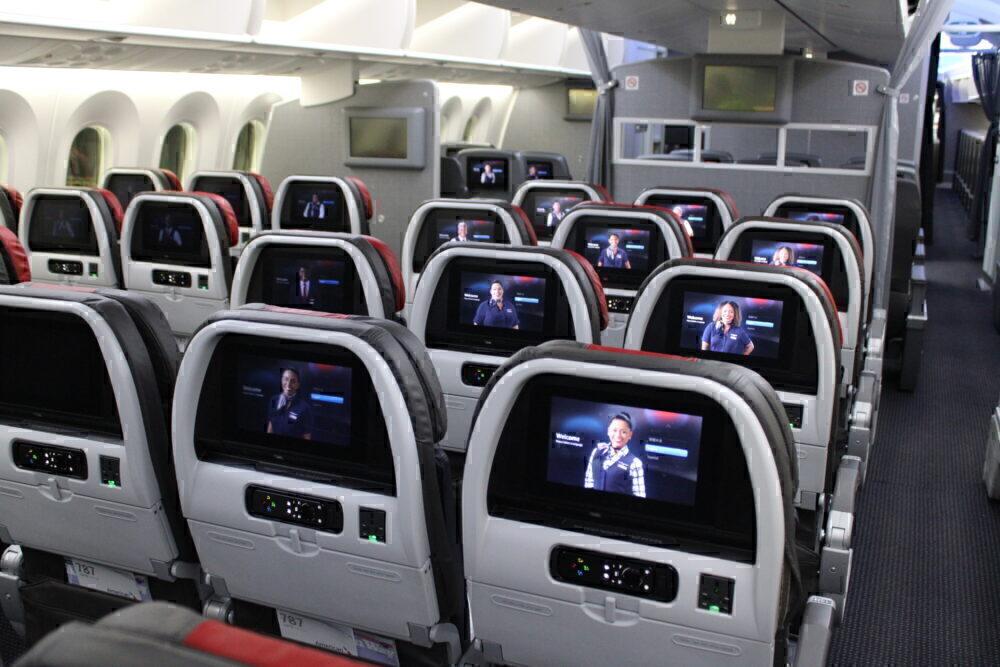 American 787-9 seatback screens