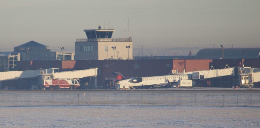 Air Canada Jazz plane tipped backwards