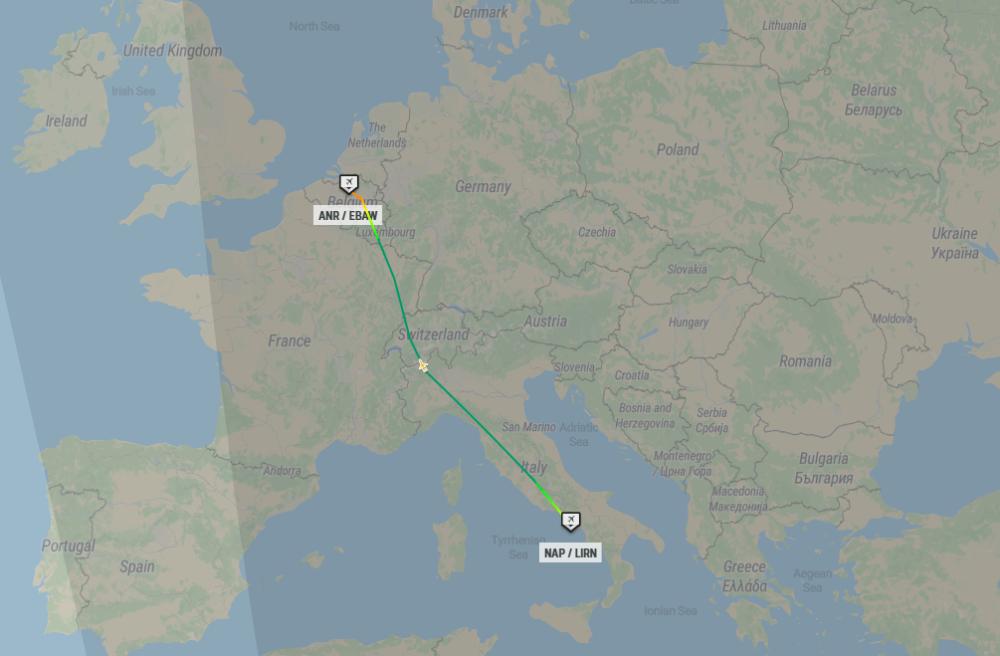 Jung Sky Cessna Citation Naples Antwerp Flightpath 30Jan2021