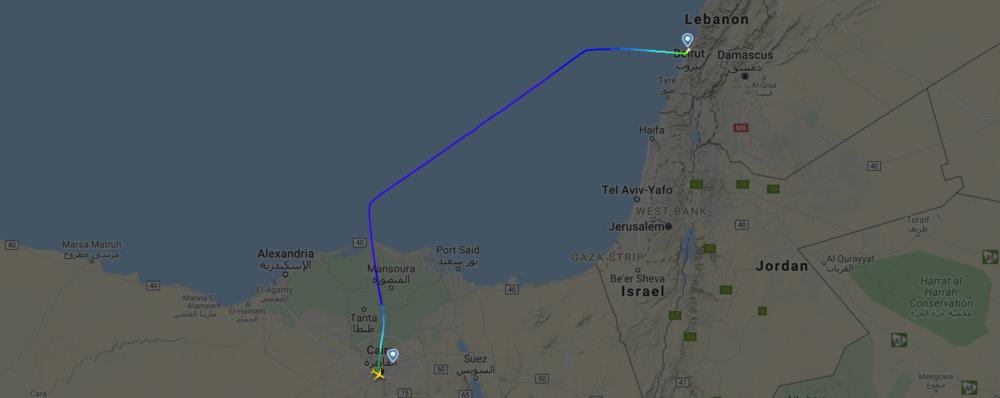 EgyptAir A220 map