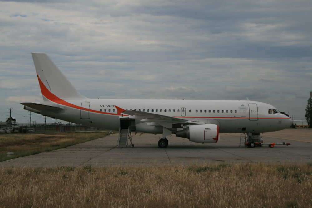 Skytraders A319 on the ground in Melbourne.