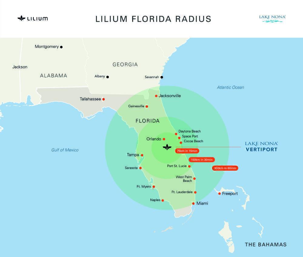 Lilium eVTOL Florida radius