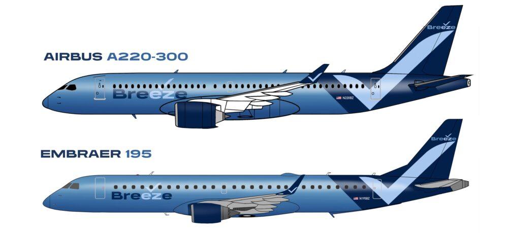 Breeze A220 and E190