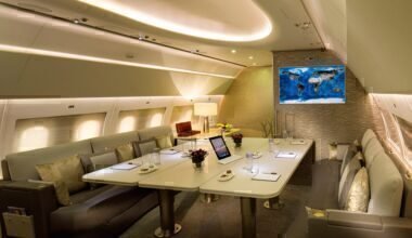 Emirates A319 dining room