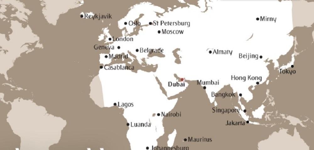 Emirates A319 range map dubai