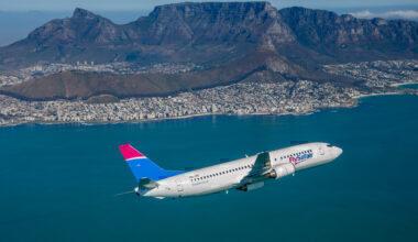 FlySafair plane over Table Mountain