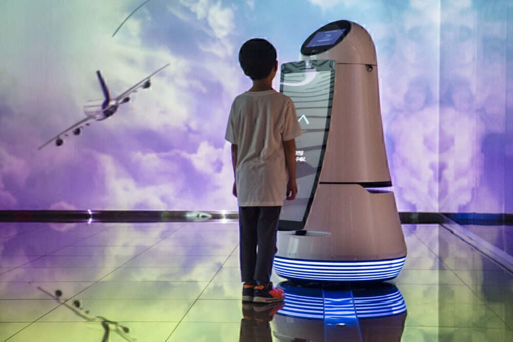Boy airport robot