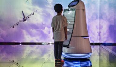 Boy airport robot