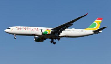 An Air Senegal new Airbus 330-900 lands at Milan Malpensa