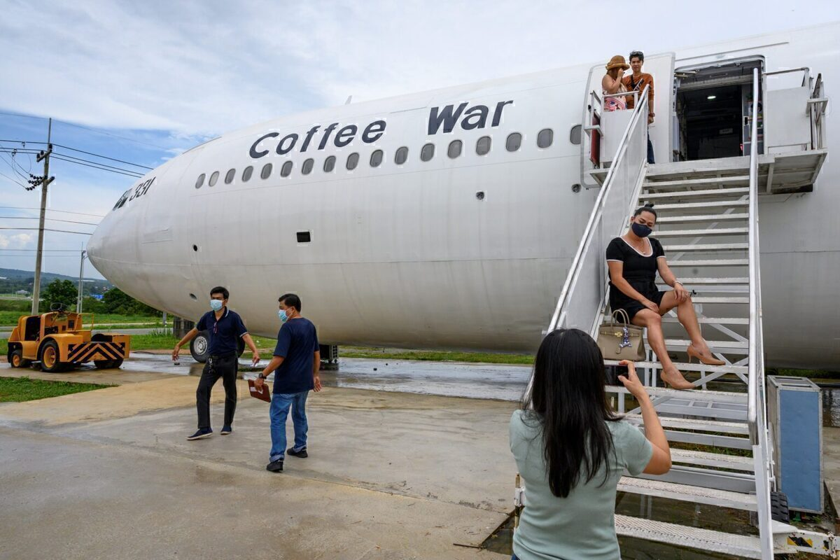 Exterior of a plane with steps