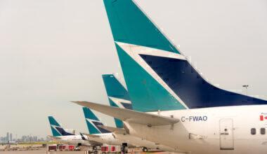 Westjet plane tails in Pearson International Airport.