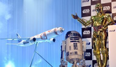 C3PO and R2D2 next to ANA Star Wars livery