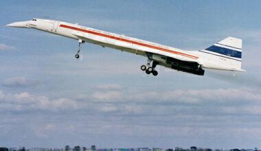 Concorde SST in Flight with Gear Down
