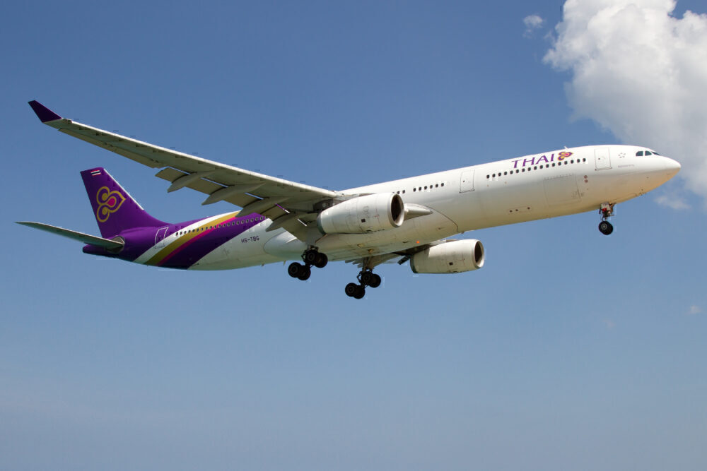 A Thai Airways Airbus A330-300 about to land at Phuket