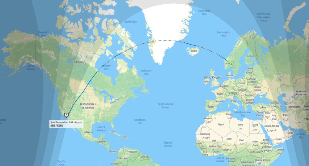 Norwegian 787 Flightpath 11. februar 2021
