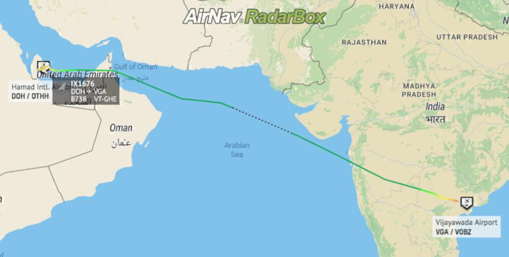 Pesawat Air India Express Boeing 737 meninggalkan Doha, Qatar pada 10:12 AST dan mendarat di Vijayawada International pada 17:12 IST setelah melakukan perjalanan melintasi Laut Arab.