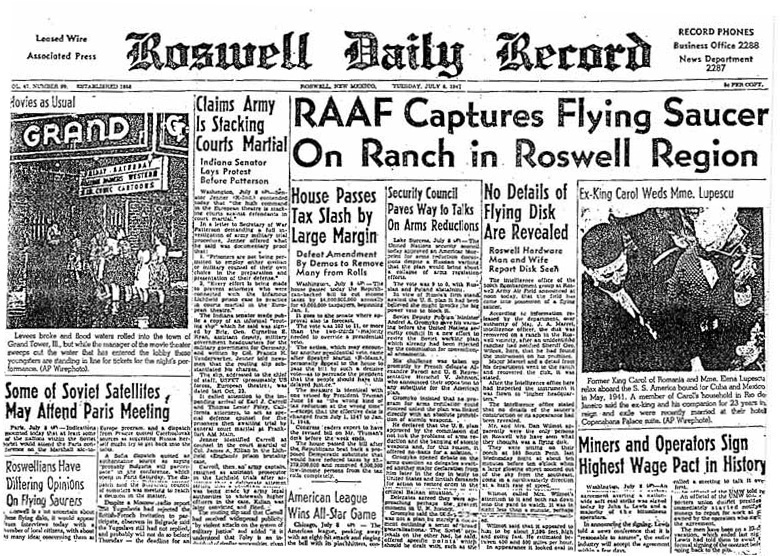 Roswell 1947 newspaper article
