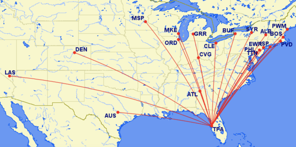 Frontier's routes out of Tampa