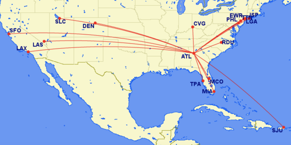 ATL routes on Frontier