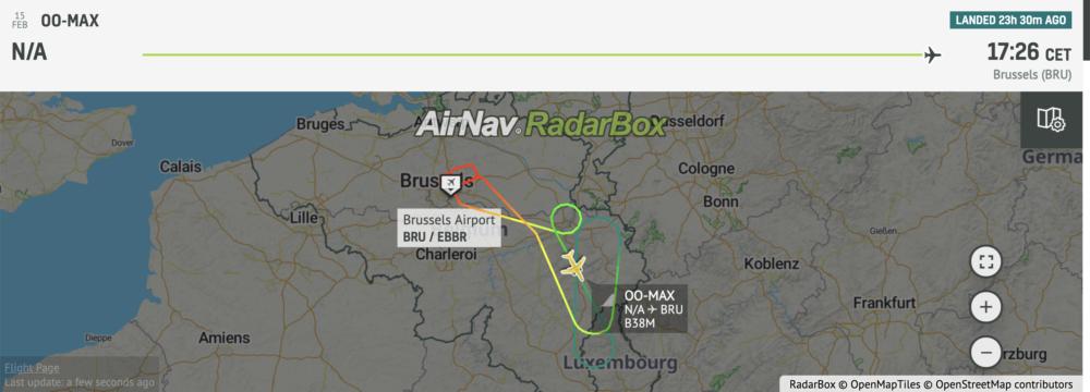 Radarbox TUI 737 MAX flight