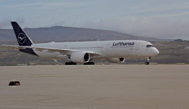 Lufthansa Airbus A350 arriving in Mount Pleasant