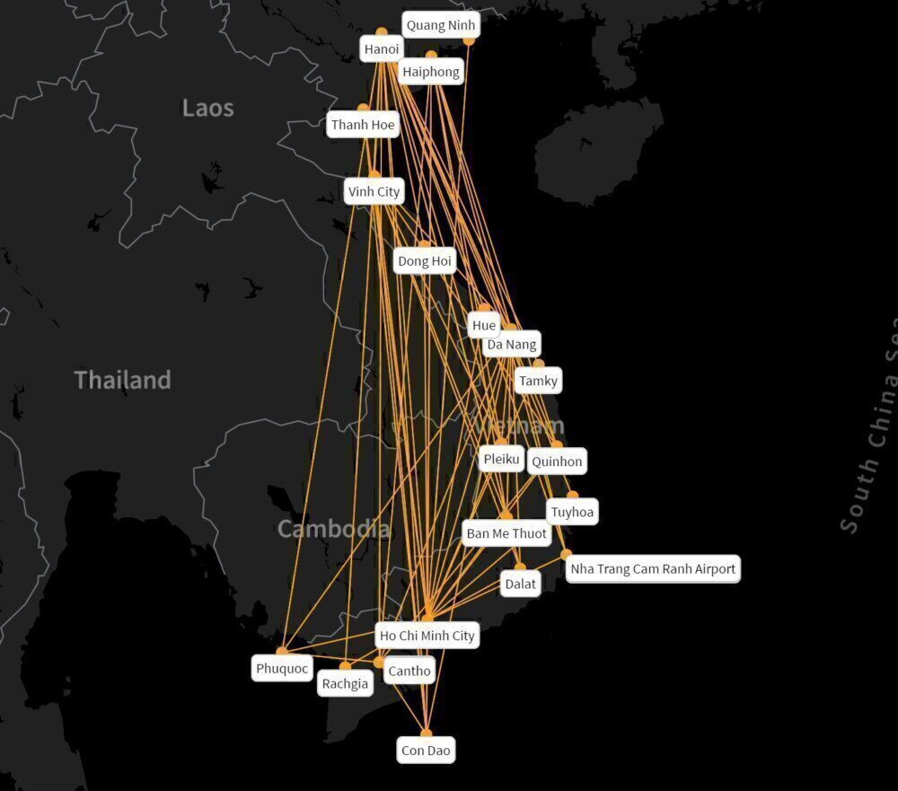 Bamboo Airways' domestic routes.