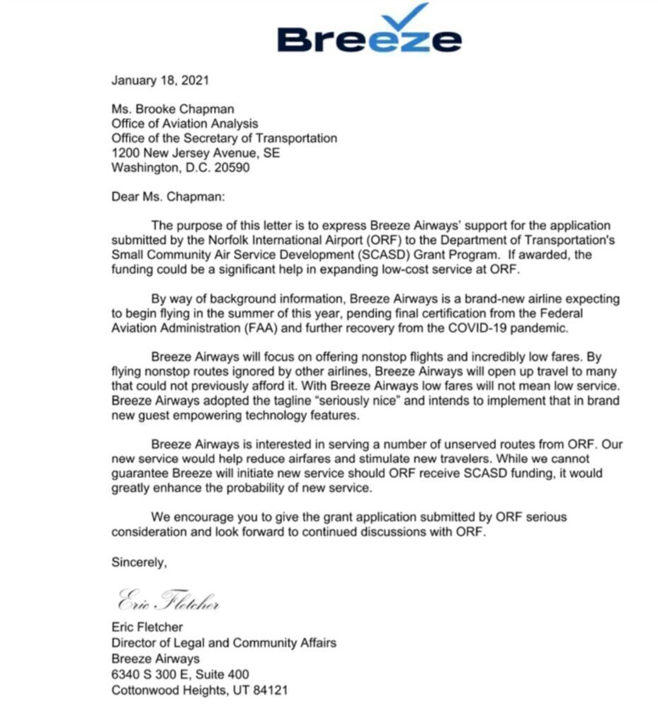 Breeze letter about Norfokk