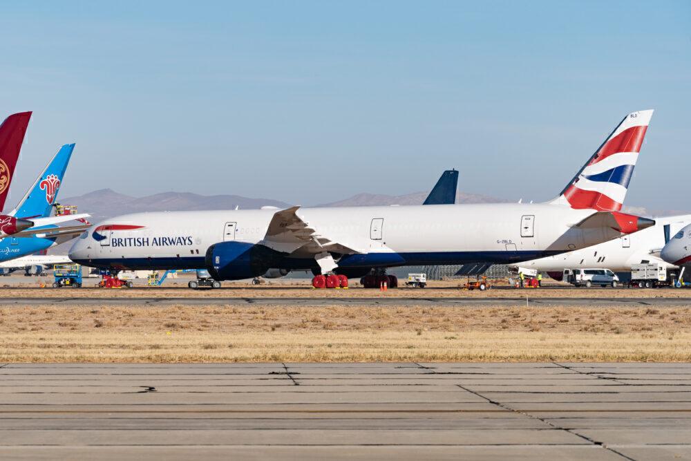 British Airways Boeing 787-10 parked in desert