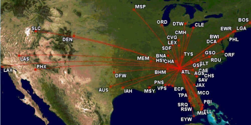Delta's top routes from Atlanta