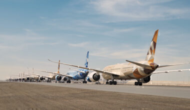 Etihad Airways grounded fleet on the runway