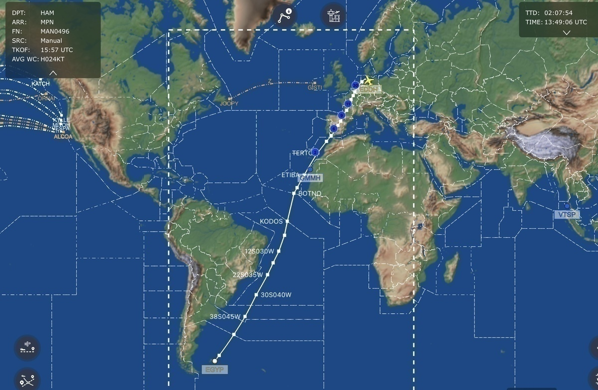 Lufthansa, Airbus A350, Falkland Islands