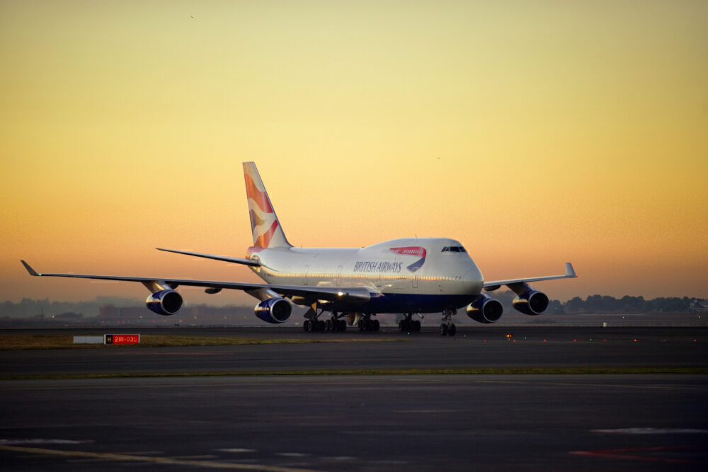 A British Airways Boeing 747 taxis at su