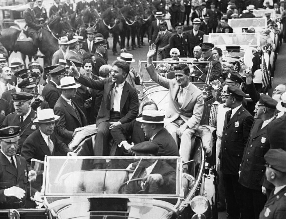 Wiley Post And Harold Gatty Parading After Having Gone Around The World In 1931