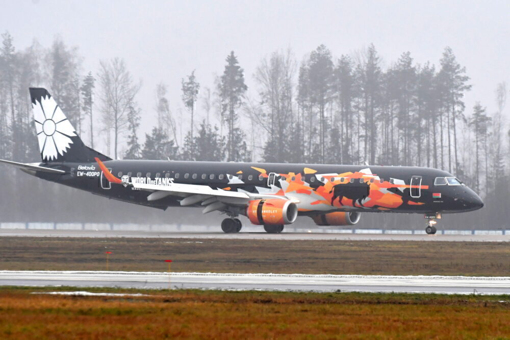 Belavia unveils World of Tanks themed livery for Embraer ERJ-195 airliner