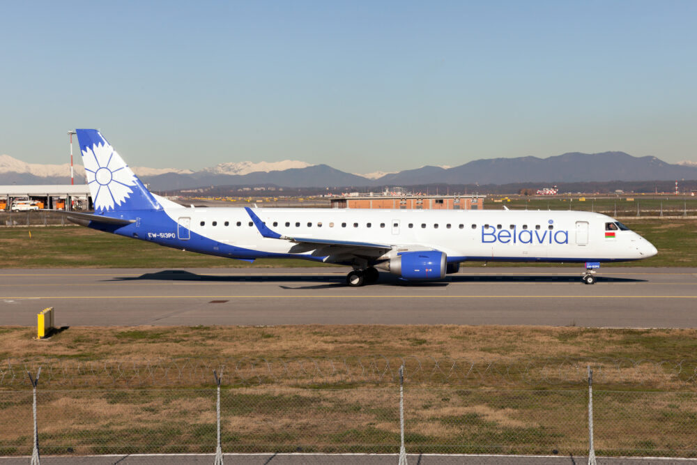 Belavia Belarusian Airlines Embraer 190 taxiing at Milan