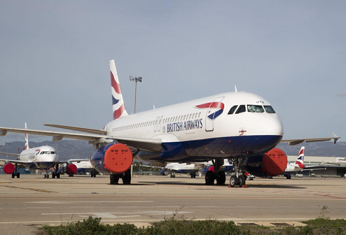 British Airways plane sits in storage at Madrid