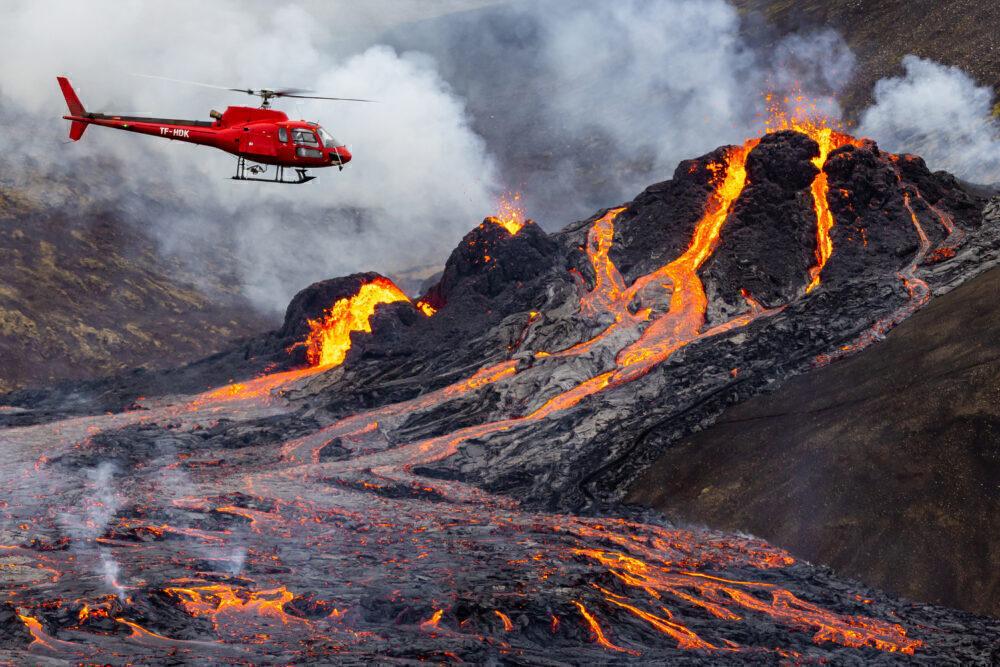 Aircraft activity over volcano