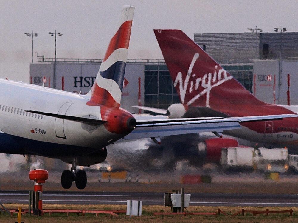 A British Airways and a Virgin Atlantic