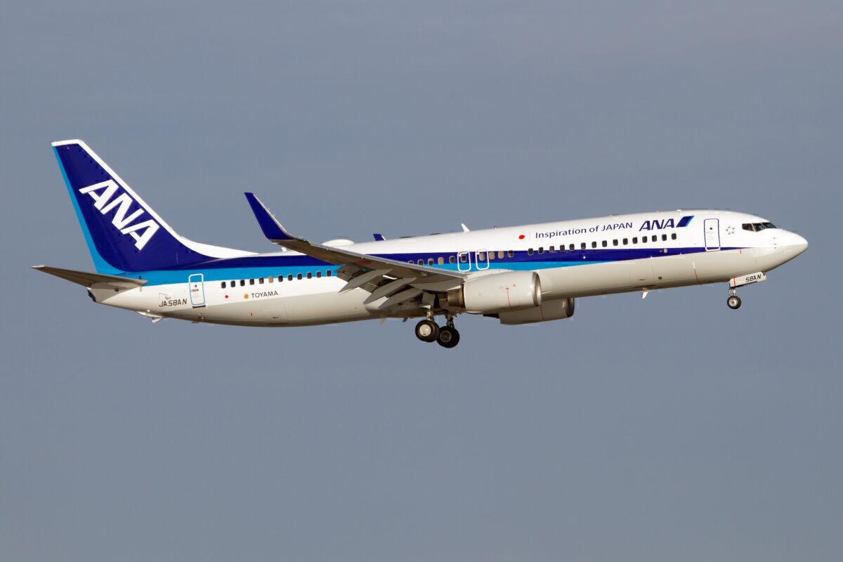 An All Nippon Airways (ANA) Boeing 737-800 landing at Tokyo