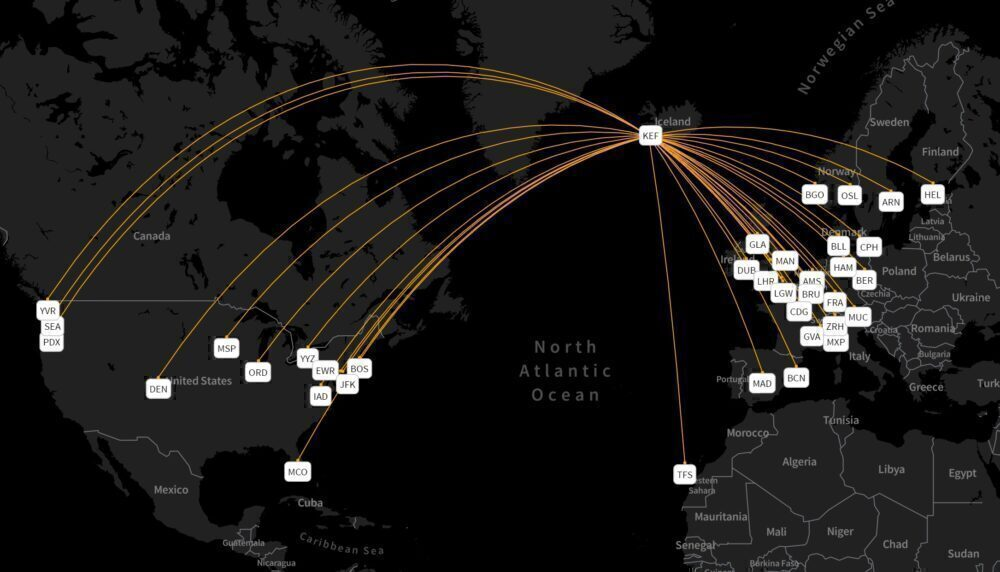Icelandair's route network in August 2021