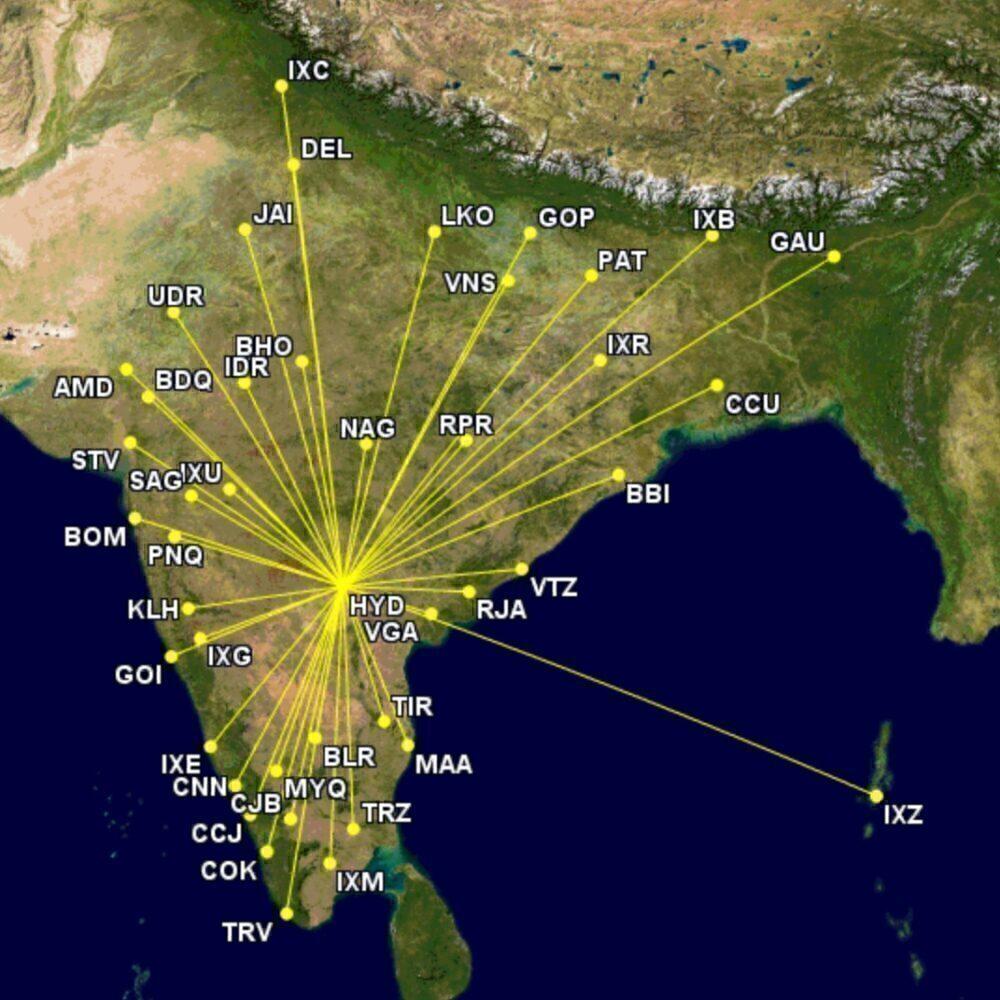 Hyderabad routes with IndiGo