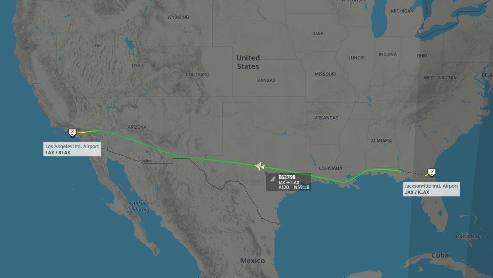 JetBlue Jacksonville to Los Angeles