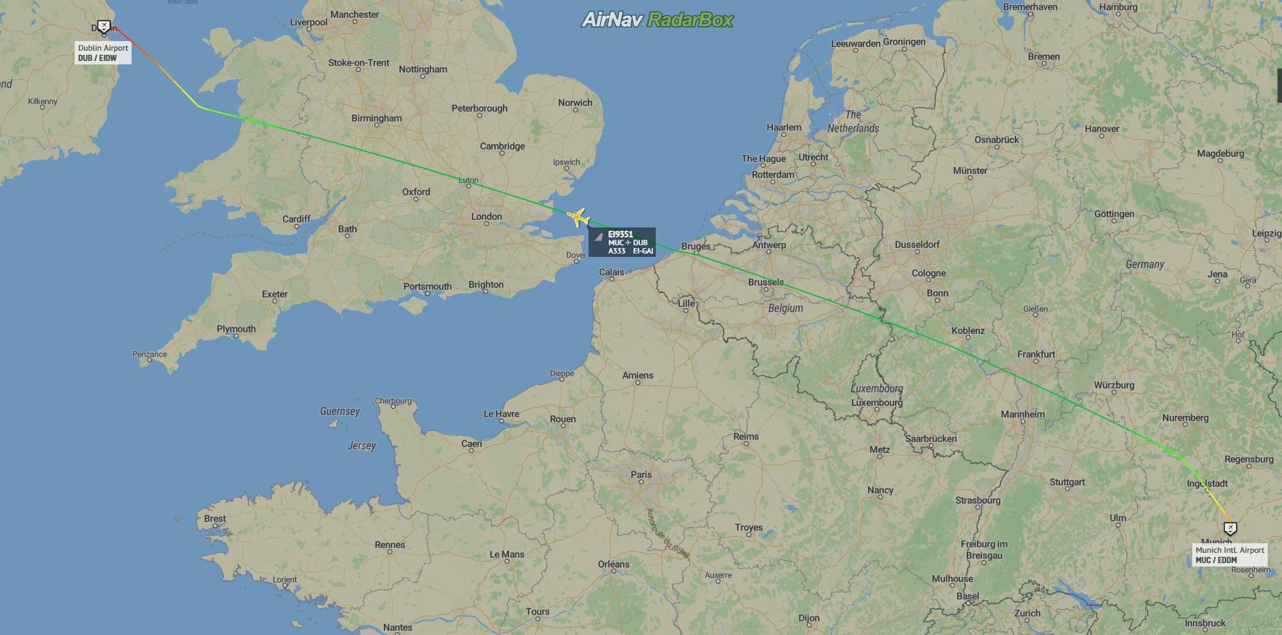 Munich to Dublin Map