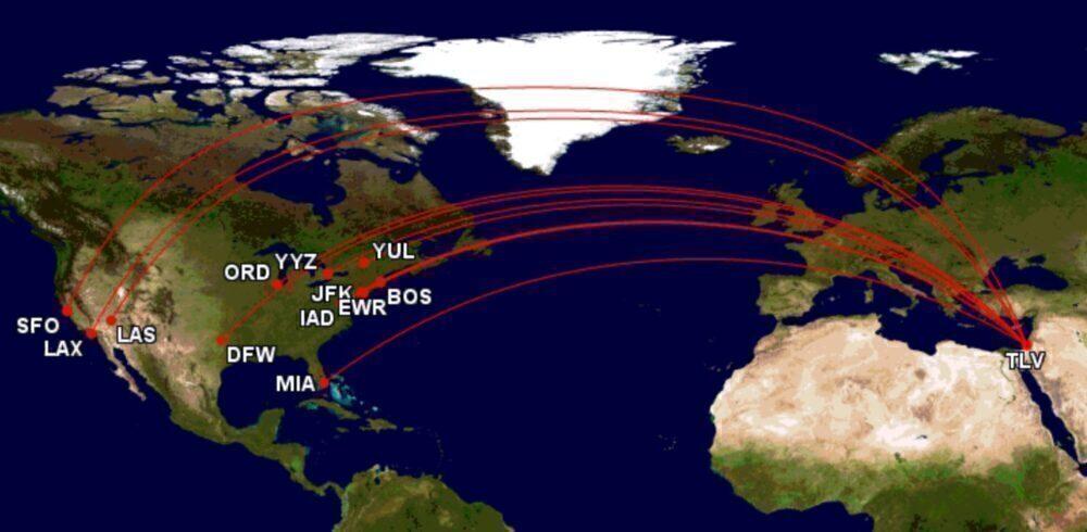 North America to Tel Aviv routes